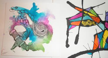 TANGLED INK and WATERCOLOR PAINTING