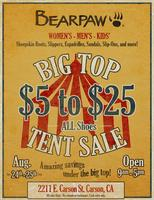 "BEARPAW ""Big Top Tent Sale"""