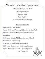 Pleiades Lodge No. 478 Masonic Symposium