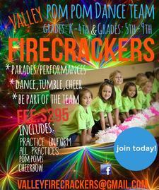 VALLEY FIRECRACKERS DANCE-POM POM TEAM logo