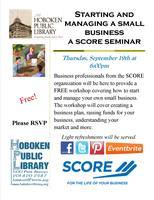Starting and Managing a Small Business: A SCORE Seminar