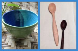 Collab class: Ceramic bowl and hand-carved spoon-...