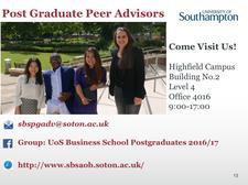 Postgraduate Peer Advisors [ sbspgadv@soton.ac.uk ] logo