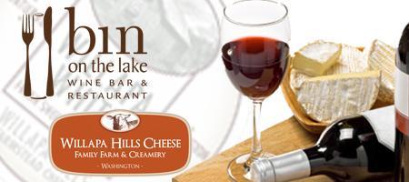 Wine & Willapa Cheese at bin on the lake