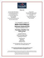 October 1st Reception With Ken Cuccinelli