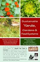 Sustainable Yards, Gardens and Food Systems Speakers...
