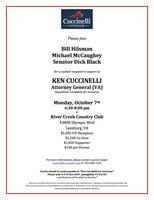 October 7 Reception With Ken Cuccinelli With Special Guests