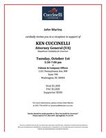 October 1st Reception for Ken Cuccinelli
