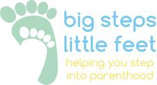 Melanie Valecha Specialist Community Public Health Nurse, Active Birth Teacher, Doula and and Holistic Therapist  and Sarah March Midwife Lactation Consultant and Tongue Tie Specialist  - Big Steps Little Feet  logo