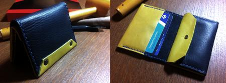 Leather wallet making workshop using traditional leathe...