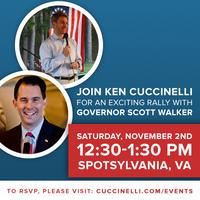 Ken Cuccinelli GOTV Rally With Governor Scott Walker -...