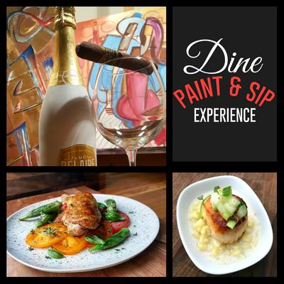 The DINE PAINT & SIP EXPERIENCE  logo