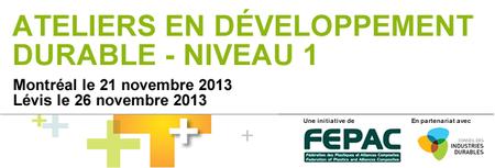 Ateliers en développement durable - Niveau I - Lévis