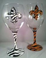 Painted Fleur de lis Animal Print, Wine Glass