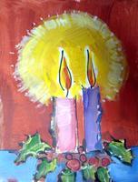 "Pour & Paint:Canvas painting ""Christmas Candles"""