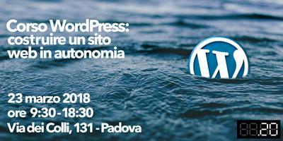 Corso WordPress: costruire un sito web in autonomia