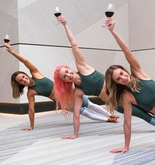 Vino Vinyasa Yoga (Morgan, Rafaella & Tara) logo