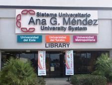 Ana G. Mendez University System Metro Orlando Library logo