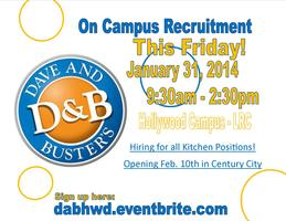 Dave and Busters - On Campus Recruitment in Hollywood