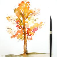 Watercolor Leaves and Trees