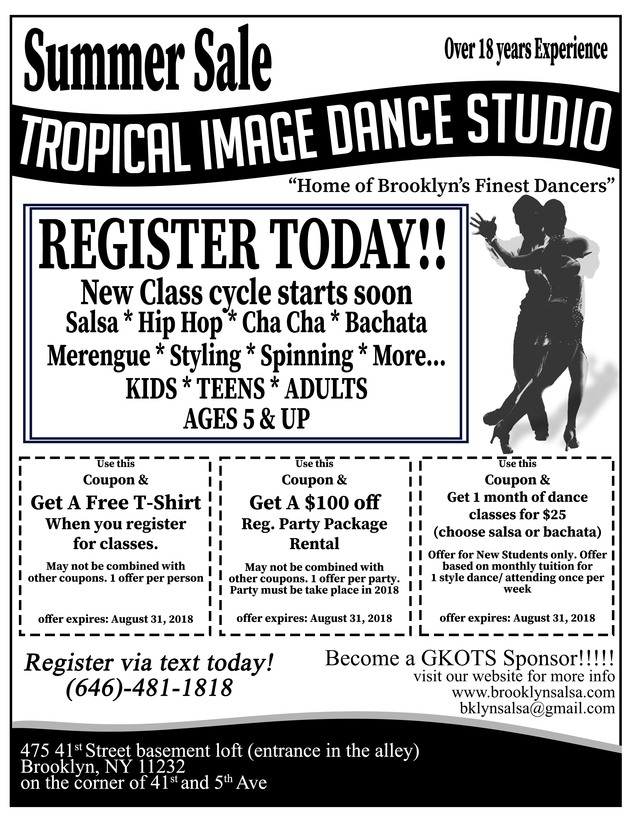 ADULT Salsa OR bachata DANCE CLASSES- NEW STUDENT/PROMOS