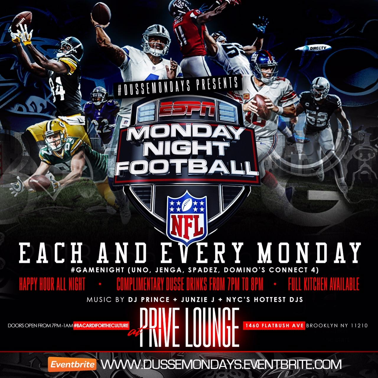 D'usse Monday's Presents Monday Night Football Game Night| Open Bar 7pm-8pm