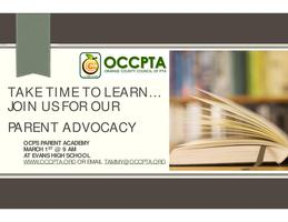 Parent Academy: OCCPTA Workshops Parent Advocacy