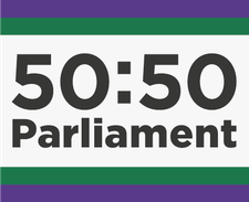 50:50 Parliament in support of Centenary Action Group logo