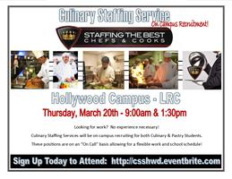 Culinary Staffing Service Hollywood Campus Recruitment