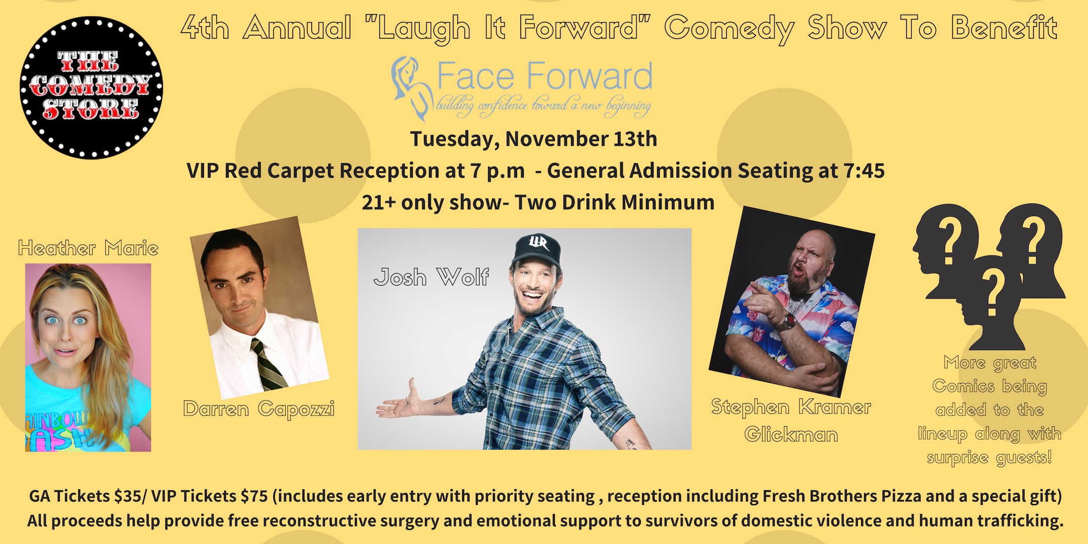 "4th Annual ""Laugh It Forward"" Comedy Fundraiser to Benefit Face Forward"