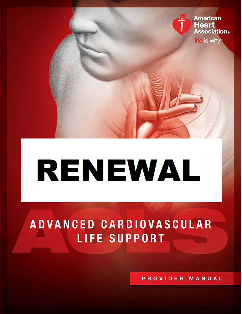 AHA ACLS Renewal June 8, 2020 (INCLUDES Provider Manual and FREE BLS!) from 9 AM to 3 PM at Saving American Hearts, Inc. 6165 Lehman Drive Suite 202 Colorado Springs, Colorado 80918.