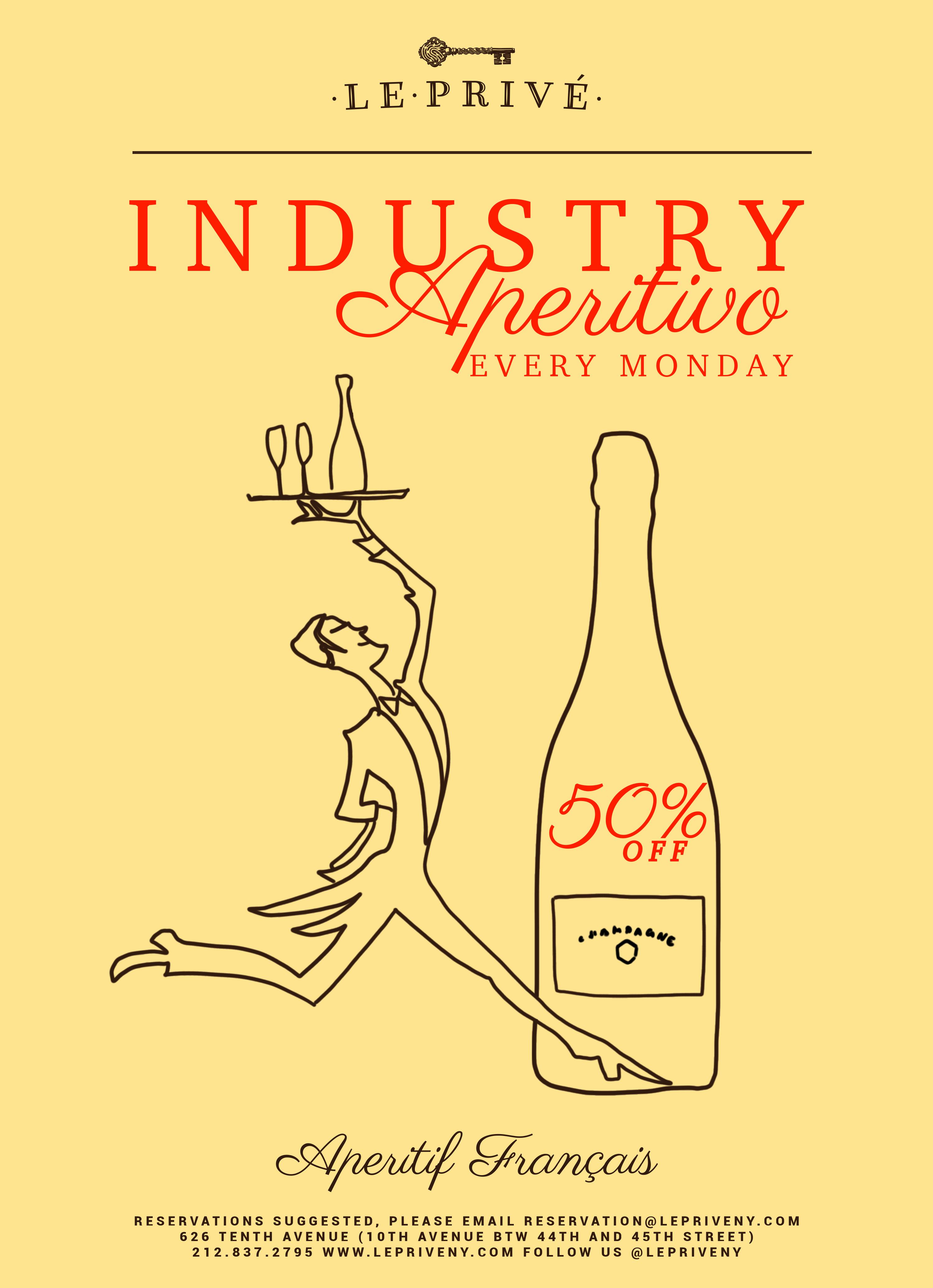 Aperitivo Mondays at Le Privé | 50% off