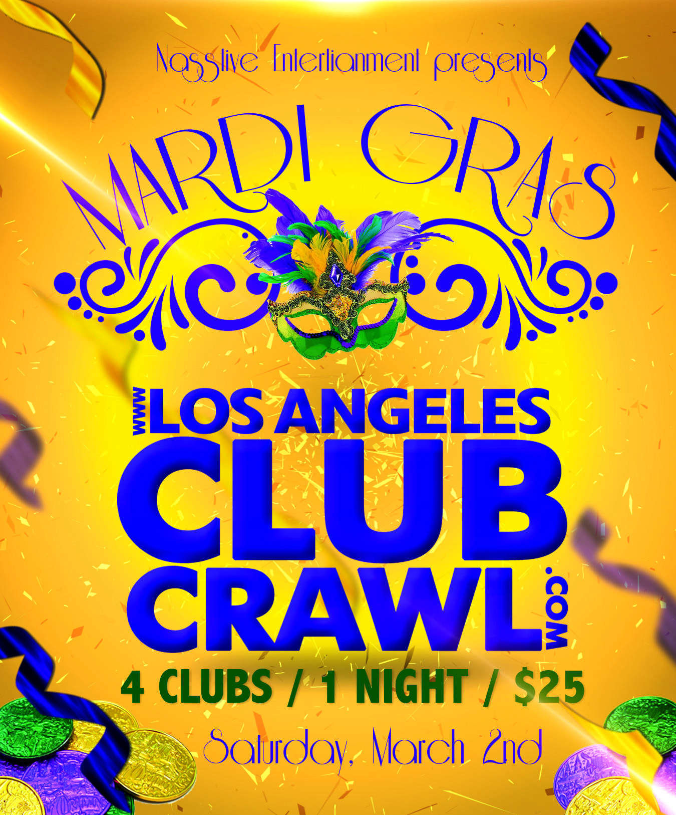 Downtown LA MARDI GRAS Club Crawl - All access pass to 4 clubs in 1 night!
