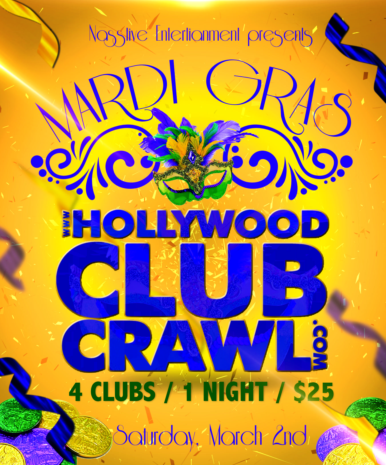 Hollywood MARDI GRAS Club Crawl - All access party pass