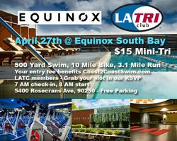 EQUINOX + LA Tri Club Indoor Mini Tri, $15!