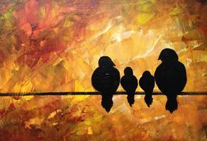 Painting Family of Birds at Liberty Lake Wine Cellars