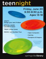 Teen Night- Ultimate Frisbee!
