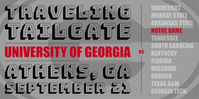 UGA-Notre Dame Traveling Tailgate Tickets, Sat, Sep 21, 2019