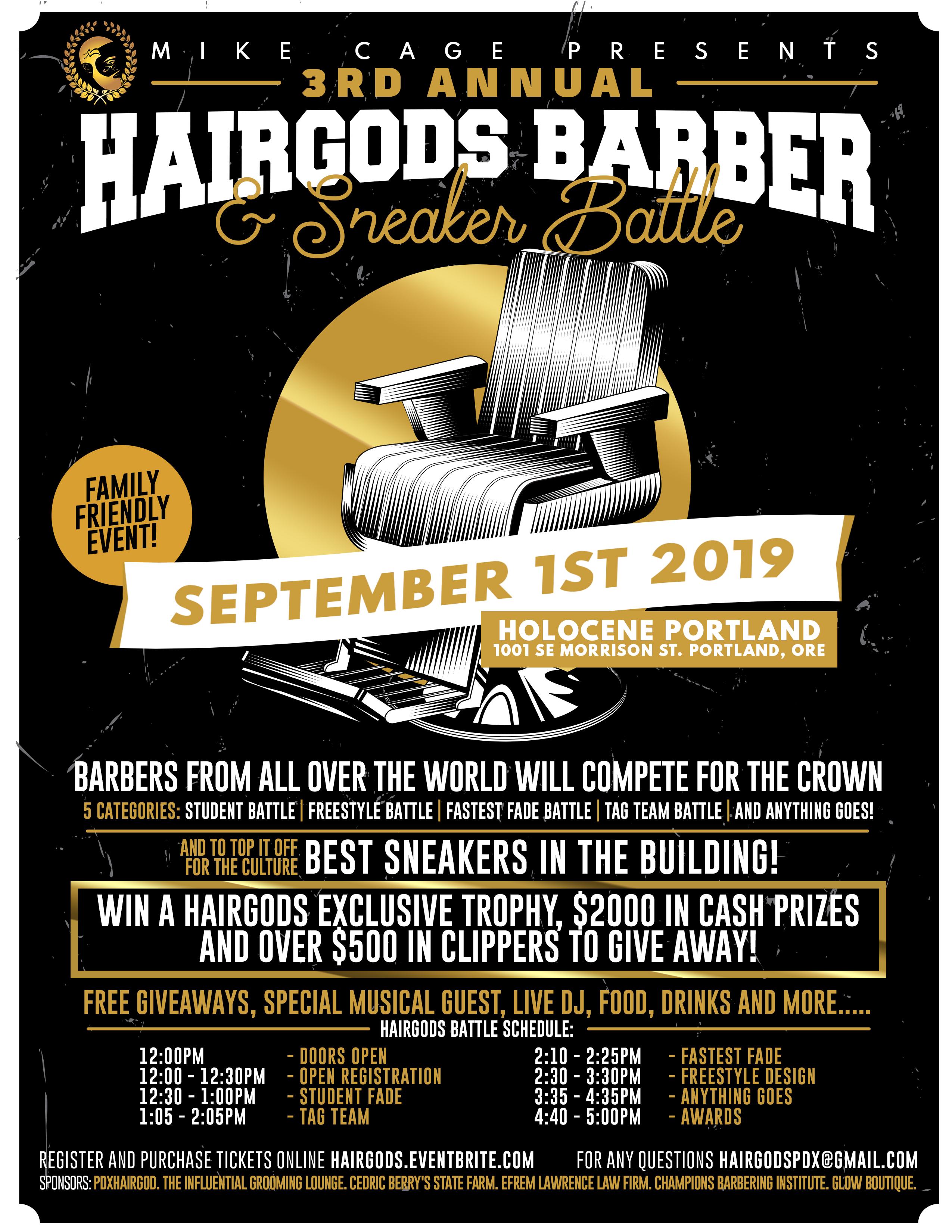 3rd Annual Hairgods Barber Battle Tickets, Sun, Sep 1, 2019 at 12:00