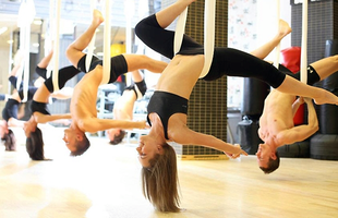 Aerial Yoga at Om Factory - NYC Fitness, Fun & Jamba...