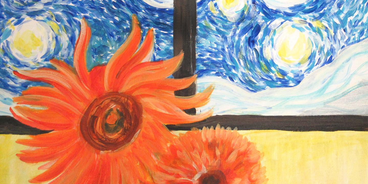 Online Party - Paint Starry Night with Sunflowers!