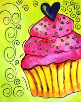 """JULY: Canvas Painting Class - """"Cupcake"""""""