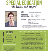 Special Education Basics and Beyond! Tickets, Mon, Aug 19, 2019 at 5