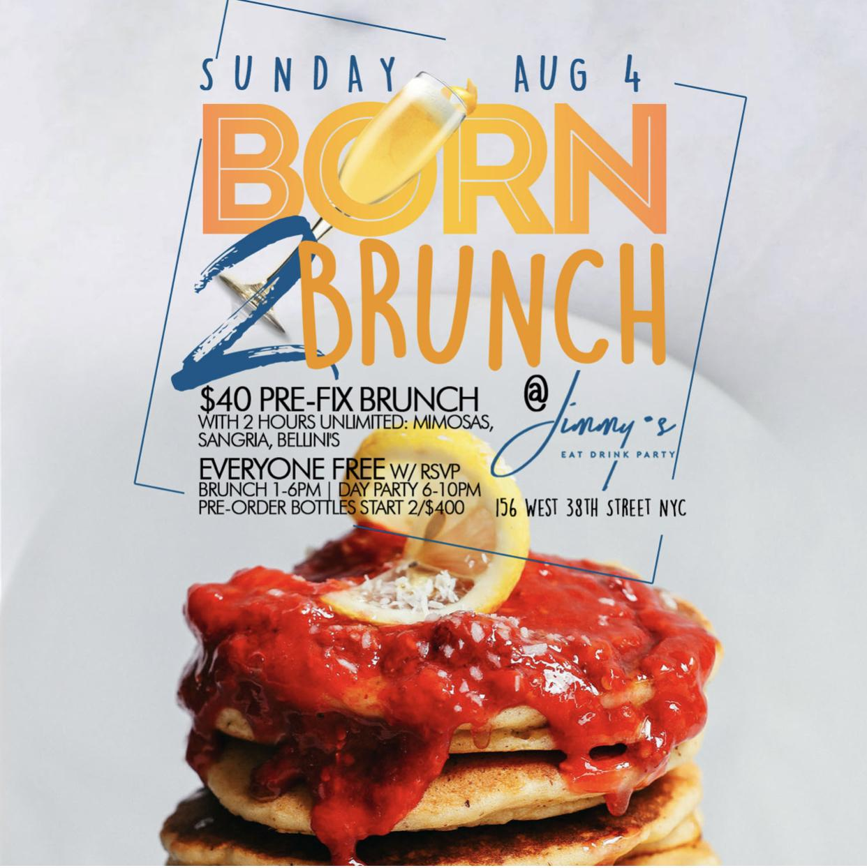Sunday 2hr Open Bar Brunch + Day Party, Free Champagne Bottle for Bdays