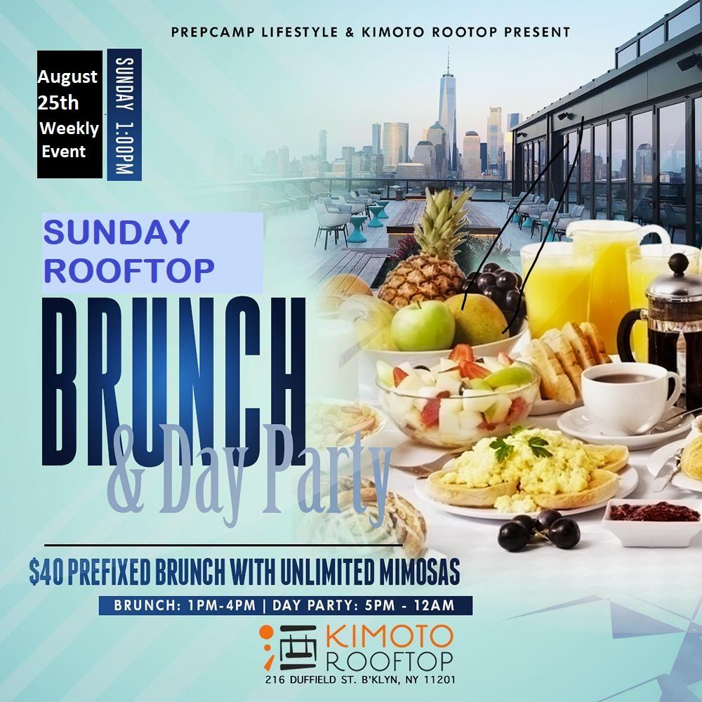 Rooftop Brunch & Day Party (Brunch 12 to 4 pm & Party 5pm to 12am) Weekly Event From 1/12/2020 to 12/27/2020 (NO EVENT ON 1/5/2020)