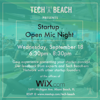 Tech Beach - Startup Open Mic Night Tickets, Wed, Sep 18