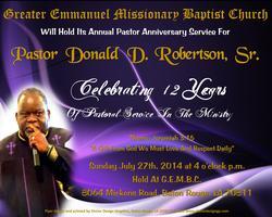 Pastor Donald D. Robertson, Sr. Appreciation Service