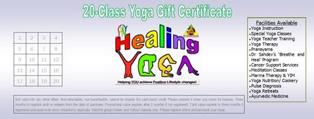 20 Yoga Classes for $99 Gift Certificate!