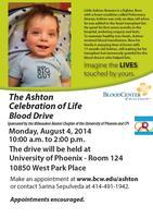 Blood Drive to support 'Ashton Celebration of Life'...