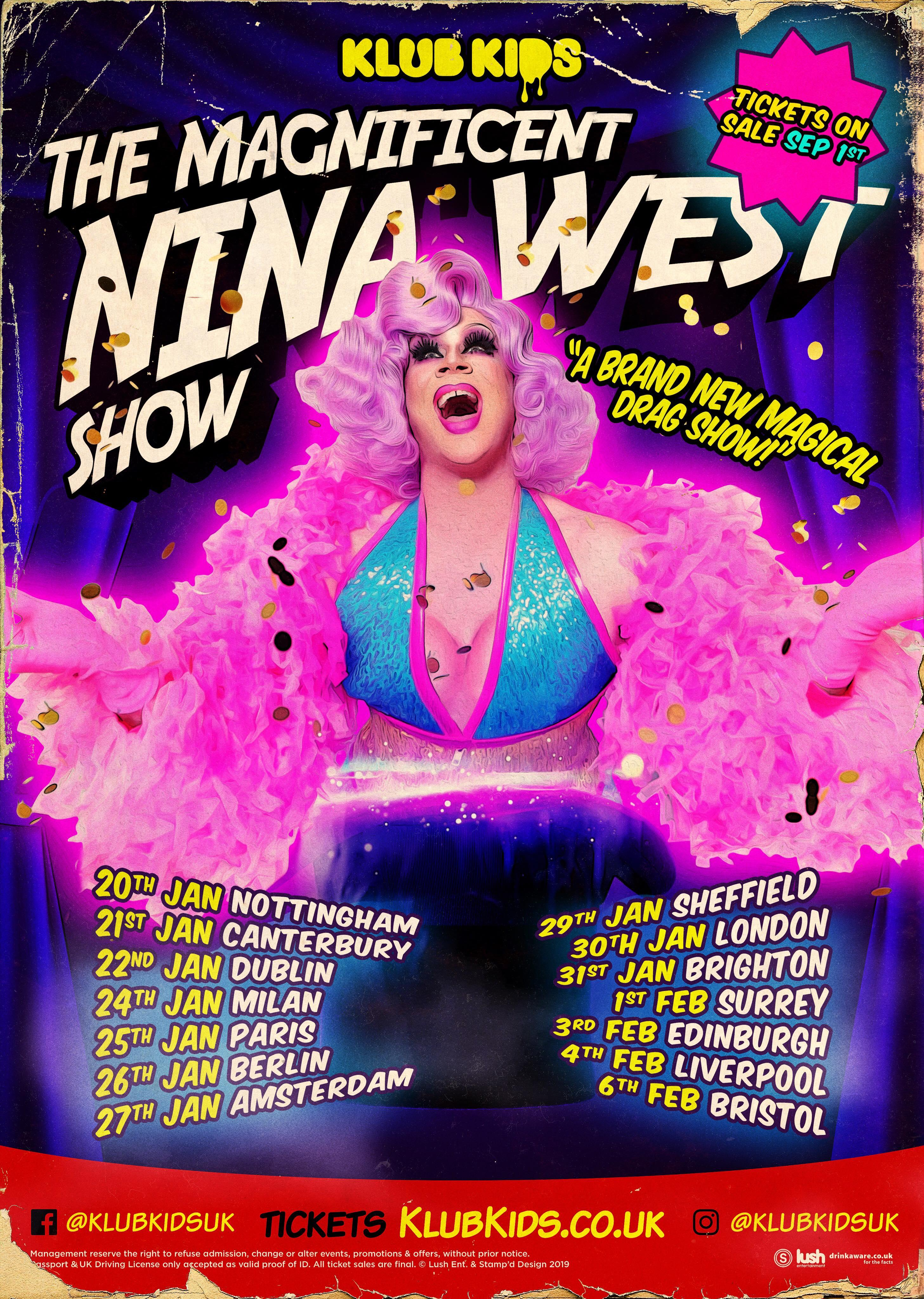 KLUB KIDS Edinburgh presents THE MAGNIFICENT NINA WEST SHOW (ages 14+)